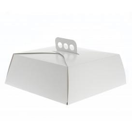Pudełka na Wynos Kartonowe Białe na Ciasto Kwadrat 27,5x27,5x10 cm (50 Sztuk)