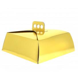 Pudełka Kartonowe Złote na Ciasto Kwadrat 24,5x24,5x10 cm (50 Sztuk)