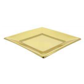 Talerz Plastikowe Płaski Kwadratowi Złote 230mm (25 Sztuk)