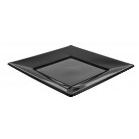 Talerz Plastikowe Płaski Kwadratowi Czarni 170mm (360 Sztuk)
