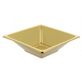 Miski Plastikowe PS Kwadratowi Złote 12x12cm (5 Sztuk)