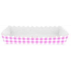 Tacki Papierowe Zamknięte Gofry 18,2x12,2x3 cm Różowe (25 Sztuk)