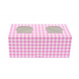 Pudełka na 2 Babeczki z Stojakiem 19,5x10x7,5cm Różowe (20 Sztuk)