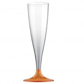 Kieliszki Plastikowe do Wina Musującego na Podstawie Orange Przezroczyste 140ml 2P (20 Sztuk)