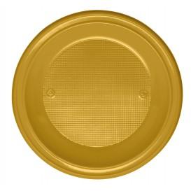 Talerz Plastikowe PS Głębokie Złote Ø220 mm (30 Sztuk)