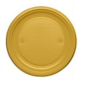 Talerz Plastikowe PS Płaski Złote Ø170mm (50 Sztuk)