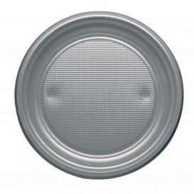 Talerz Plastikowe PS Płaski Srebro Ø170mm (50 Sztuk)