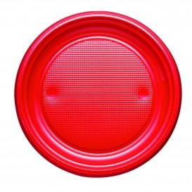 Talerz Plastikowe PS Płaski Czerwerne Ø170mm (50 Sztuk)