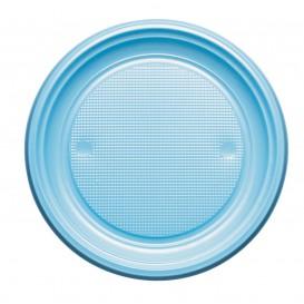 Talerz Plastikowe PS Płaski Niebieski Światło Ø170mm (50 Sztuk)