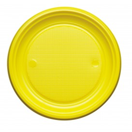 Talerz Plastikowe PS Płaski Żółty Ø220mm (30 Sztuk)