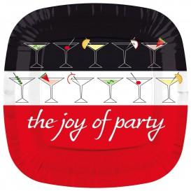 Plato de Carton Cuadrado '' Joy of Party'' 230mm (8 Uds)