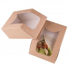 Pudełka na Wynos Kartonowe Kraft z Okienkiem 90x51x120mm (500 Sztuk)