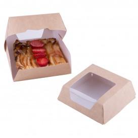 Pudełka na Wynos Kartonowe Kraft z Okienkiem 140x140x50mm (250 Sztuk)