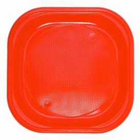 Talerz Plastikowe PS Kwadratowi Orange 200x200mm (30 Sztuk)
