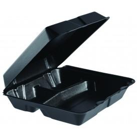 Pojemniki Styropianowe MenuBox 3C. Dzielone Czarni 240x235mm (200 Sztuk)