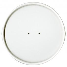 Wieczko Płaskie Papierowe Białe Ø11,7cm (25 Sztuk)