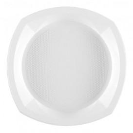 Talerz Plastikowe PS Kwadratowi Białe 230x230mm 1C (100 Sztuk)