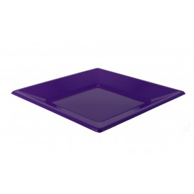 Talerz Plastikowe Płaski Kwadratowi Liliowa 170mm (25 Sztuk)