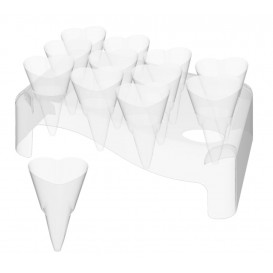 "Plastic Serving Cones with Serving Cone Holder ""Love"" 50ml 18x26cm (20 Kits)"