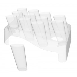 Plastic Serving Cones with Serving Cone Holder Clear 75ml 18x26cm (20 Kits)