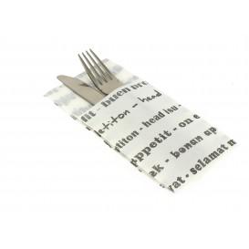 """Pocket Fold Paper Napkins """"Enjoy your meal"""" 40x40cm (30 Units)"""