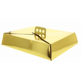 Pudełka Kartonowe Złote na Ciasto Kwadrat 19x25x8 cm (50 Sztuk)