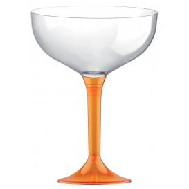 Copa de Plastico Champan con Pie Naranja Transp. 200ml (20 Uds)