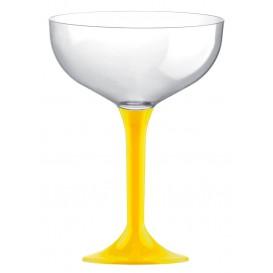 Copa de Plastico Champan con Pie Amarillo 200ml (20 Uds)