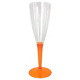 Copa de Plastico Cava Pie Naranja 100ml (72 Uds)