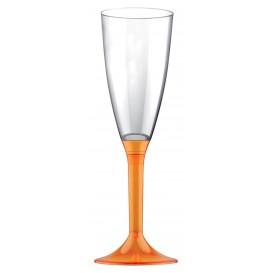 Kieliszki Plastikowe do Wina Musującego na Podstawie Orange Przezroczyste 120ml 2P (20 Sztuk)