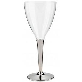 Kieliszki Plastikowe Wino na Podstawie Srebro 130ml (10 Sztuk)