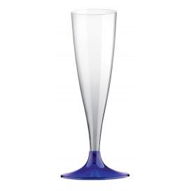 Kieliszki Plastikowe do Wina Musującego na Podstawie Niebieski Przezroczyste 140ml 2P (20 Sztuk)