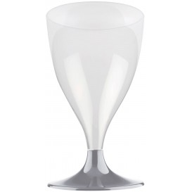Kieliszki Plastikowe Wino na Podstawie Szare 200ml 2P (20 Sztuk)