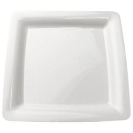 Talerz Plastikowe Kwadratowi Bardzo Sztywny Białe 18x18cm (20 Sztuk)