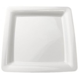 Talerz Plastikowe Kwadratowi Bardzo Sztywny Białe 22,5x22,5cm (20 Sztuk)