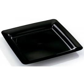 Talerz Plastikowe Kwadratowi Bardzo Sztywny Czarni 22,5x22,5cm (20 Sztuk)