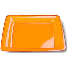 Plato Plastico Cuadrado Extra Rigido Naranja 22,5x22,5cm (6 Uds)
