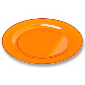 Talerz Plastikowe Okrągłe Bardzo Sztywny Orange 19cm (10 Sztuk)