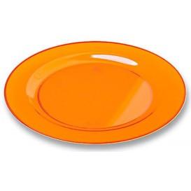 Talerz Plastikowe Okrągłe Bardzo Sztywny Orange 23cm (6 Sztuk)