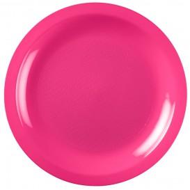 Plato de Plastico Llano Fucsia Round PP Ø185mm (300 Uds)