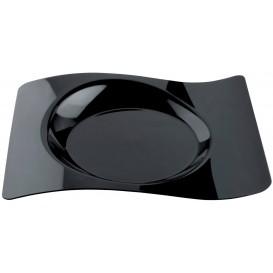 "Plato de Plastico ""Forma"" Negro 28x23 cm (12 Uds)"