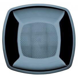 Talerz Plastikowe Płaski Czarni Square PS 230mm (25 Sztuk)