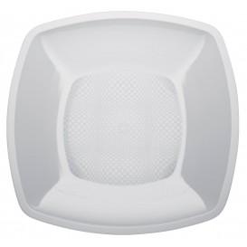 Talerz Plastikowe Płaski Białe Square PP 230mm (25 Sztuk)