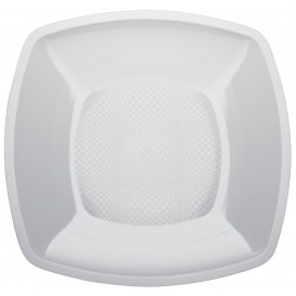 Talerz Plastikowe Płaski Białe Square PP 230mm (300 Sztuk)
