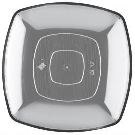 Talerz Plastikowe Płaski Przezroczyste Square PS 230mm (25 Sztuk)