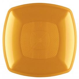 Talerz Plastikowe Głębokie Złote Square PP 180mm (12 Sztuk)