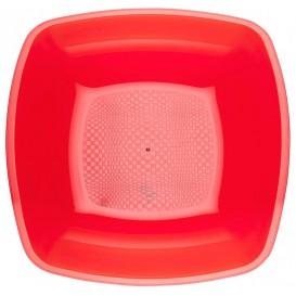 Talerz Plastikowe Głębokie Czerwerne Przezroczyste Square PS 180mm (300 Sztuk)