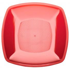 Talerz Plastikowe Płaski Czerwerne Przezroczyste Square PS 230mm (300 Sztuk)