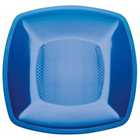 Talerz Plastikowe Płaski Niebieski Przezroczyste Square PS 230mm (25 Sztuk)