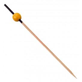 Szpikulce do Mięsa Bambusowe Dekoracje Czarni i Żółty 120mm (200 Sztuk)